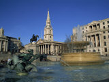 Trafalgar Square  Including St Martin in the Fields  London  England  UK