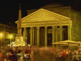 Pantheon Illuminated at Night in Rome  Lazio  Italy  Europe