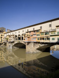 Reflection in the Arno River of the Ponte Vecchio  Florence  Tuscany  Italy  Europe