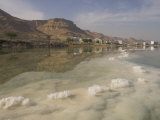 Sea and Salt Formations with Hotels and Desert Cliffs Beyond  Dead Sea  Israel  Middle East