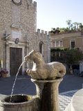 Horse Fountain and the Cathedral of St Nicola  Cathedral Square  Taormina  Sicily  Italy  Europe