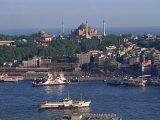 Istanbul Skyline Including the Aghia Sophia Basilica  Istanbul  Turkey  Europe