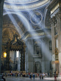 Tourists in the Interior of St Peters Basilica in Rome  Lazio  Italy  Europe