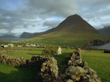 Landscape Containing Dry Stone Walls and a Small Settlement  Faroe Islands  Denmark  Europe