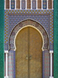 Ornate Tiled Doorway at the Royal Palace  Fez  Morocco  North Africa  Africa