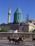 Horse and Cart Passes the Mevlana Tekke Museum  Konya  Anatolia  Turkey