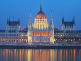 Parliament Building Reflected in River Danube  UNESCO World Heritage Site  Budapest  Hungary