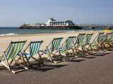 Bournemouth East Beach  Deck Chairs and Pier  Dorset  England  United Kingdom  Europe