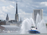 Fires Boats on River Seine and Rouen Cathedral Behind  Rouen  Normandy  France  Europe