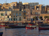 Boats Moored in Valletta Harbour at Dusk  Malta  Mediterranean  Europe