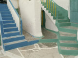 Detail of Painted Blue and Green Steps on Ios  Cyclades Islands  Greek Islands  Greece  Europe