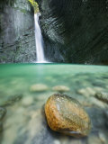 Veliki Kozjak Waterfall with Green Plunge Pool  Tributary of Soca River  Julian Alps  Slovenia