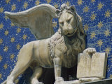 Close-Up of the Lion of St Mark&#39;s Clock Tower in Venice  UNESCO World Heritage Site  Veneto  Italy