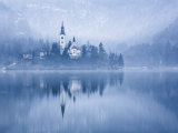 Lake Bled at Dawn in Winter with Assumption of Mary's Pilgrimage Church  Slovenia  Europe