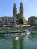 Sightseeing Boat on the River Limmat in Front of Grossmunster Church  Zurich  Switzerland  Europe