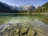 Mangart Mountain Reflected in Lake at Lago Di Fusine  Julian Alps  Friuli-Venezia Giulia  Italy