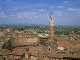 Piazza Del Campo and Houses on the Skyline of the Town of Siena  Tuscany  Italy