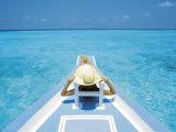 Woman Relaxing on Deck of Boat  Maldives  Indian Ocean