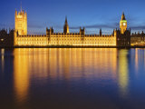 Houses of Parliament at Dusk Reflected in the River Thames  Westminster  London  England  UK