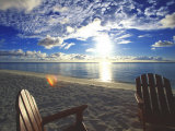 Two Deckchairs on the Beach at Sunset  Maldives  Indian Ocean