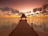 Jetty at Sunset  Island on North Male Atoll  Maldives  Indian Ocean