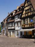 Half Timbered Buildings Along the Quai De La Poissonnerie  Colmar  Haut Rhin  Alsace  France