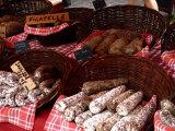 Sausages on a Market Stall  La Flotte  Ile De Re  Charente-Maritime  France  Europe