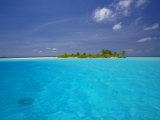 Tropical Island Surrounded by Lagoon  Maldives  Indian Ocean