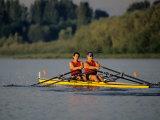 Men's Pairs Rowing Team in Action  Vancouver Lake  Washington  USA