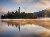 Lake Bled at Dawn with Santa Maria Church  Gorenjska  Julian Alps  Slovenia