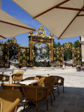 Restaurant and Gilded Wrought Iron Gates by Jean Lamor  Place Stanislas  Nancy  Lorraine  France