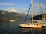 Sailing Boats in Evening Light  Moored on Lake Annecy  Rhone Alpes  France  Europe