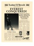 L'Everest est conquis ! Une de journal Giclée premium par The Vintage Collection