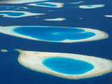 Aerial View of Atolls in the Maldive Islands  Indian Ocean