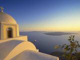 Church and Sunset  Thira  Santorini  Cyclades  Greek Islands  Greece  Europe