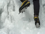 Male Ice Climber  Detail of Boots and Crampons