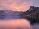 Lake Bled at Sunset with Bled Castle on Left  Gorenjska  Julian Alps  Slovenia  Europe