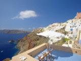 Terrace in Oia  Santorini  Cyclades  Greek Islands  Greece  Europe