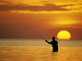 Fly Fisherman in the Florida Keys  Florida  USA