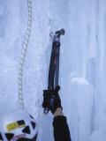 Man Ice Climbing  Detail of Equipment