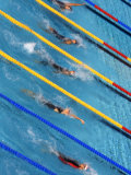 Action During Women's Backstroke Race  Athens  Greece