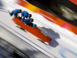 Start of a 4-Man Bobsled Team in Action  Torino  Italy