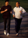 Father and Son Running Togerther for Exercise  New York  New York  USA