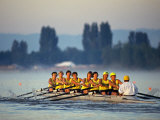 Women's Eights Rowing Team in Action  Vancouver Lake  Washington  USA