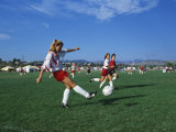 15 Year Old Girls in Action Durring Soccer Game  Lakewood  Colorado  USA