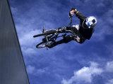 Bmx Cyclist Flying Off the Vert