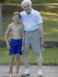 96 Year Old Grandfather with 9 Year Old Grandson at Poolside  Kiamesha Lake  New York  USA