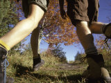 Detail of Feet of Couple Hiking  Woodstock  New York  USA