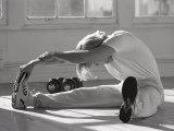 Man Stretching in Gym  New York  New York  USA