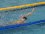 Action of Male Backstroke Swimmer  Athens  Greece